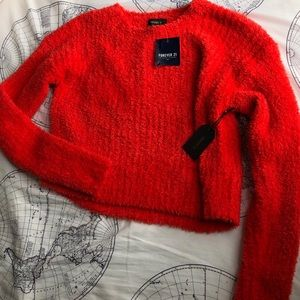 Forever 21 Red Cropped Sweater